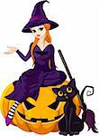 Illustration of Halloween sitting on pumpkin Stock Photo - Royalty-Free, Artist: Dazdraperma                   , Code: 400-06395324