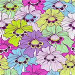 Seamless floral vivid motley pattern with colorful flowers (vector) Stock Photo - Royalty-Free, Artist: OlgaDrozd                     , Code: 400-06395720