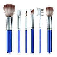 Set of makeup brushes on white background. Vector illustration Stock Photo - Royalty-Freenull, Code: 400-06395832