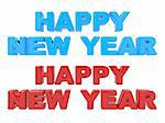 Happy New Year, 3D Text Red and Blue. Isolated on White Background Stock Photo - Royalty-Free, Artist: tashatuvango                  , Code: 400-06396447