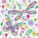 Floral seamless valentine pattern with colorful butterfly and dragonfly and hearts (vector) Stock Photo - Royalty-Free, Artist: OlgaDrozd                     , Code: 400-06396551