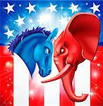 American politics concept illustration of a donkey and elephant facing off. Symbols of Democrat and Republican two US parties. Could be for presidential debate, partisan politics, or just an election.   Stock Photo - Royalty-Free, Artist: Krisdog                       , Code: 400-06396752