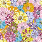 Seamless floral spotty vivid pattern with colorful flowers (vector) Stock Photo - Royalty-Free, Artist: OlgaDrozd                     , Code: 400-06397074