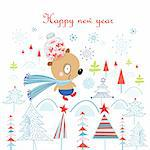 merry christmas card with a bear on a white background with Christmas trees and snowflakes Stock Photo - Royalty-Free, Artist: tanor                         , Code: 400-06397118