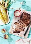 Flank Steak, Corn on the Cob and Glasses of Iced Tea Stock Photo - Premium Royalty-Free, Artist: Jodi Pudge, Code: 600-06397655