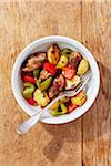 Overhead View of Sausage with Potatoes and Bell Peppers in Bowl with Fork Stock Photo - Premium Royalty-Free, Artist: Jodi Pudge, Code: 600-06397675