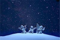 fantastically - Three angels and stars Stock Photo - Premium Royalty-Freenull, Code: 622-06398378