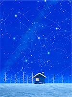Illustration of Snow and constellations in Winter Stock Photo - Premium Royalty-Freenull, Code: 622-06398393