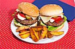 Plate of burgers and potatoes Stock Photo - Premium Royalty-Free, Artist: Blend Images, Code: 649-06400750