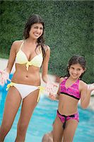 Sisters standing by swimming pool Stock Photo - Premium Royalty-Freenull, Code: 649-06401447