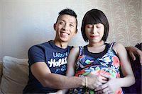 pregnant asian - Happy Asian expectant couple Stock Photo - Premium Royalty-Freenull, Code: 6106-06401617