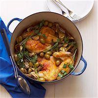 stove - Dutch Oven with Chicken, Olive, Artichoke Hearts Stock Photo - Premium Royalty-Freenull, Code: 6106-06401969