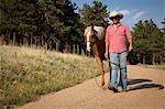 Man and horse walking on dirt road Stock Photo - Premium Royalty-Free, Artist: Aurora Photos, Code: 614-06402850