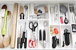 Utensils in kitchen drawer Stock Photo - Premium Royalty-Free, Artist: Ikon Images, Code: 614-06402996