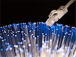 Ethernet with blue optical cable effect Stock Photo - Premium Royalty-Free, Artist: Glowimages               , Code: 618-06405256