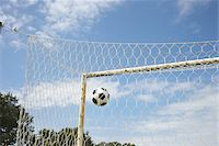 Soccer Ball in Goal, Cap Ferret, Gironde, Aquitaine, France Stock Photo - Premium Royalty-Freenull, Code: 600-06407726