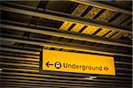 Sign Pointing Direction of Underground Train, Terminal 5, Heathrow Airport, London, Hounslow, United Kingdom