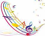 Multicolour  musical notes staff background. Vector illustration with transparency EPS10. Stock Photo - Royalty-Free, Artist: angelp                        , Code: 400-06408648