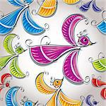 Colorful birds seamless pattern, wallpaper. Stock Photo - Royalty-Free, Artist: Sylverarts                    , Code: 400-06409509