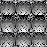 Tiled metal background connected with screws. Seamless pattern – vector. Stock Photo - Royalty-Free, Artist: Sylverarts                    , Code: 400-06409547