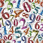 Colorful graphic stylized numbers seamless pattern, vector background. Numbers easy to use separately. Stock Photo - Royalty-Free, Artist: Sylverarts                    , Code: 400-06409552