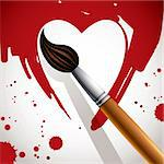 Heart painted with brush, valentine day concept illustration. Stock Photo - Royalty-Free, Artist: Sylverarts                    , Code: 400-06409588