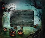 Halloween design - Forest pumpkins. Horror background with autumn valley with woods, spooky tree, pumpkins and spider web. Space for your Halloween holiday text.   Stock Photo - Royalty-Free, Artist: mythja                        , Code: 400-06409633