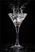 fresh coctail on the black background Stock Photo - Royalty-Freenull, Code: 400-06409646