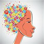 Creativity illustration, girl with color curls hair, vector illustration. Stock Photo - Royalty-Free, Artist: Sylverarts                    , Code: 400-06409677