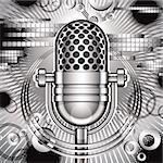 Music vector illustration with retro style microphone. Stock Photo - Royalty-Free, Artist: Sylverarts                    , Code: 400-06409721