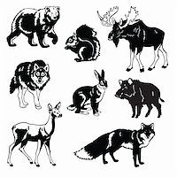 vector set of most popular forest animals,Eurasia beasts,black and white images isolated on white background Stock Photo - Royalty-Freenull, Code: 400-06410755