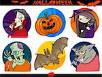Cartoon Illustration of Halloween Themes, Vampire, Zombie, Witch, Werewolf, Pumpkin and Bat Funny Set Stock Photo - Royalty-Free, Artist: izakowski                     , Code: 400-06410868