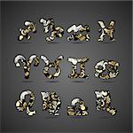 Vector set of golden zodiac signs with floral ornate isolated on gray background