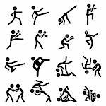 Simple Sport Pictogram Martial Arts Icon Collection Set. Usefull For Sport Theme. Stock Photo - Royalty-Free, Artist: escova                        , Code: 400-06411099