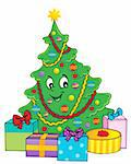Christmas tree theme 1 - vector illustration. Stock Photo - Royalty-Free, Artist: clairev                       , Code: 400-06411619