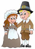 pilgrimartworks - Thanksgiving pilgrim theme 1 - vector illustration. Stock Photo - Royalty-Freenull, Code: 400-06411650