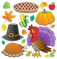 Thanksgiving theme collection 1 - vector illustration. Stock Photo - Royalty-Freenull, Code: 400-06411654