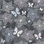 Repeating gray floral pattern with pastel flowers and butterflies (vector) Stock Photo - Royalty-Free, Artist: OlgaDrozd                     , Code: 400-06413172