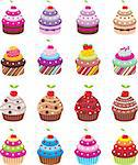 Cupcakes on a white background. Stock Photo - Royalty-Free, Artist: gurza                         , Code: 400-06413192