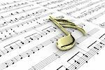 Gold musical note on a  background written notes Stock Photo - Royalty-Free, Artist: FotoVika                      , Code: 400-06413638