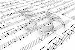 Glass musical notes on a  background written notes Stock Photo - Royalty-Free, Artist: FotoVika                      , Code: 400-06413644