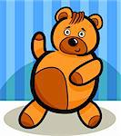 Illustration of Cute Teddy Bear Cartoon Character against Blue Striped Wallpaper
