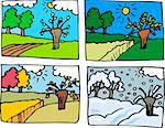 Cartoon Illustration of Rural Landscape in Four Seasons: Spring, Summer, Autumn or Fall and Winter Stock Photo - Royalty-Free, Artist: izakowski                     , Code: 400-06414281