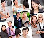Montage of Interracial business group men & women, businessmen and businesswomen team outdoors and in an office using cell phones and tablet computers Stock Photo - Royalty-Free, Artist: darrenbaker                   , Code: 400-06414487
