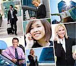 Montage of Interracial business group men & women, businessmen and businesswomen team outdoors using cell phones, laptop and tablet computers Stock Photo - Royalty-Free, Artist: darrenbaker                   , Code: 400-06414488