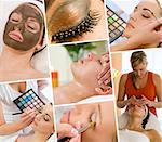 Montage of beautiful women relaxing at a health and beauty spa having massage treatments and their makeup applied by a beautician Stock Photo - Royalty-Free, Artist: darrenbaker                   , Code: 400-06414491