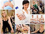 Healthy lifestyle montage of beautiful women, relaxing, working out, smiling and exercising together at a gym Stock Photo - Royalty-Free, Artist: darrenbaker                   , Code: 400-06414492