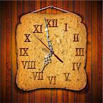 Clock made of toast on wooden background   Stock Photo - Royalty-Free, Artist: catalby                       , Code: 400-06415192