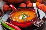 Pumpkin soup with chili for Thanksgiving Stock Photo - Royalty-Free, Artist: Brebca                        , Code: 400-06416329