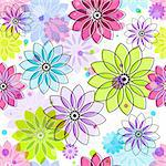 Seamless floral pattern with colorful vintage translucent flowers and balls (vector eps 10) Stock Photo - Royalty-Free, Artist: OlgaDrozd                     , Code: 400-06416593